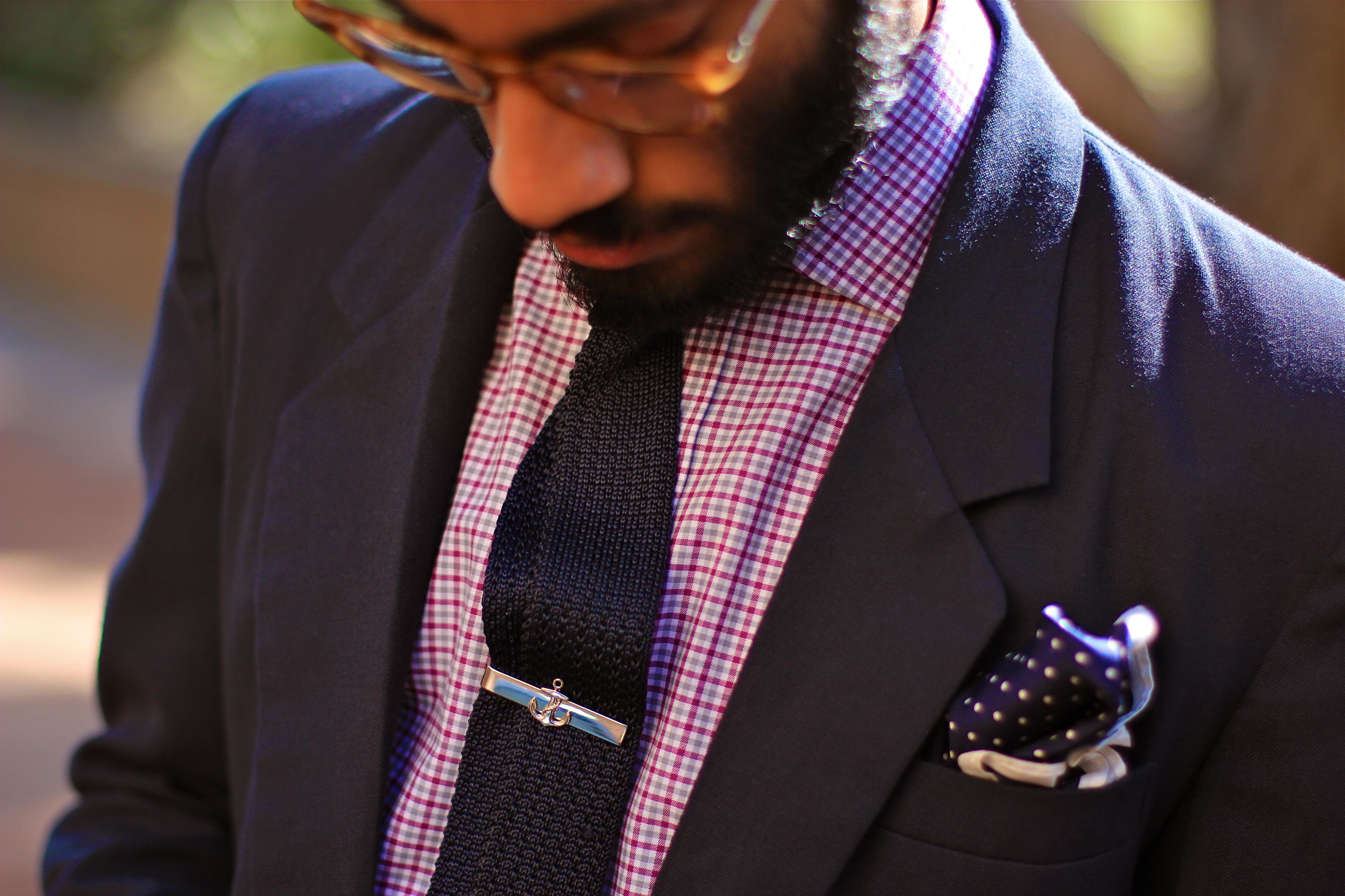 wearing a tie bar x sprezza